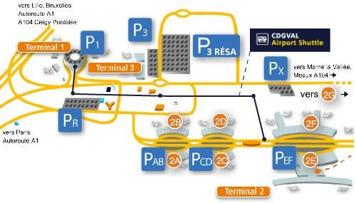 plan parking aeroport roissy Charles de gaulle